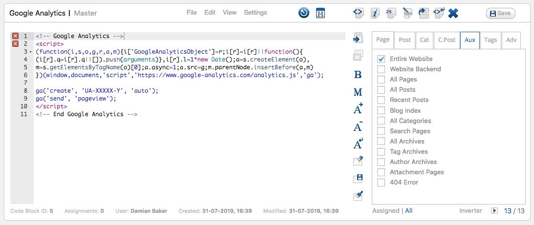 Google Analytics using CJT Code Blocks Example